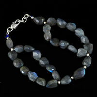 AAA 152.00 Cts Natural Blue Flash Labradorite Untreated Faceted Beads Bracelet