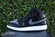 NIKE AIR JORDAN 1 MID PREMIUM GS GG 7 Y BLACK DARK GREY WINTERIZED 852548 002