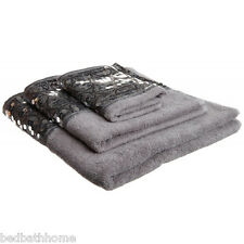 NEW - Sinatra Silver Bling 3pc Cotton Towel Set