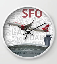 Virgin America Airbus A321 over SFO - Wall Clock