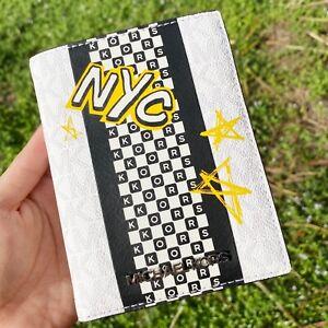 Michael Kors Medium Leather Jet Set Travel Passport Case id Wallet Black Silver