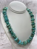 Chimney Butte Hand Strung Turquoise W/ Sterling Silver Clasp Necklace 20in.