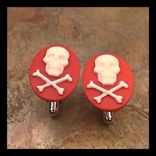 New Cufflinks White Red Skull 💀 Crossbones Modern Resin Cameo Silvertone F32