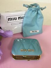 Miu Miu Cosmetic Makeup tufted double side magnifying teal blue Mirror. New