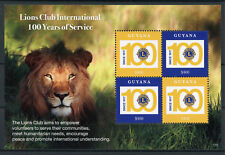 Guyana 2017 MNH Lions Club International 100 Years 4v M/S Wild Animals Stamps