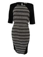 RACHEL Rachel Roy Women's Elbow Sleeve Dress 12, White/Black Combo
