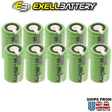 10x Exell 2/3A 1600mAh 1.2V NIMH Rechargeable Batteries w/ Tabs FAST USA SHIP