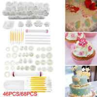 46/68pcs Cake Decor Fondant Sugarcraft Icing Plunger Cutters Tools Mold Mould