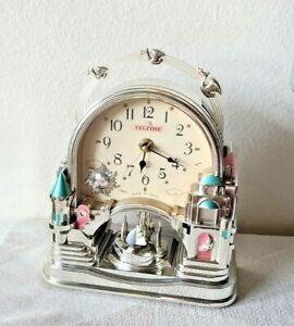 "Castle Desk Clock w/ Pendulum TelTime Mantle Shelf Clock 9''x4''x8"" TESTED Works"