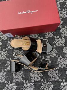Salvatore Ferragamo Giulia Black Patent Heels Sandal Size 9 C Vara Bow