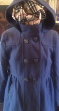 ladies womens H&M wool mid blue double breasted hooded coat jacket size L 16