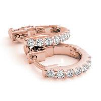 1.40 Ct Round  Genuine Diamond Hoop Earrings 14K Real Rose Gold Stud Earring SI1