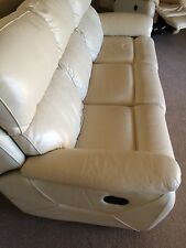 GENUINE LEATHER 3 SEATER SETTEE +  ELECTRIC RECLINING ARMCHAIR