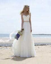 Chiffon Plunging Sleeve Wedding Dresses