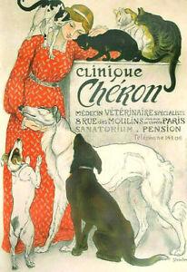 """Théophile Steinlen CLINIQUE CHÉRON Fine Art Lithograph X LARGE Poster 58"""" CATS"""