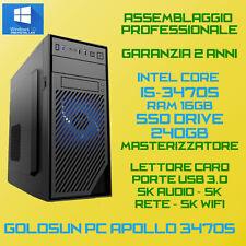 COMPUTER ASSEMBLATO PC FISSO DESKTOP INTEL Core i5-3470S RAM 16GB SSD240 DVD-RW