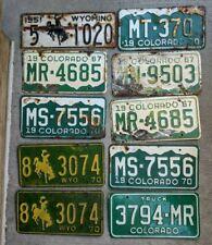 Lot of 10 Vintage Colorado & Wyoming License Plates 'Craft Grade' Rusty & Rustic
