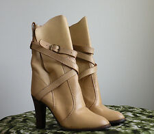 Desert Rose Boots 6 Vtg 1970's Palomino Leather Ankle Wrap Stack Heel Brazil Wow