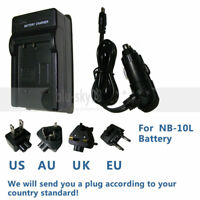 Wall/Car Battery Charger for Canon NB-10L CB-2LC PowerShot SX50 HS SX60 SX40