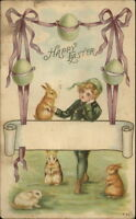 Easter - Little Boy & Rabbits c1910 Postcard