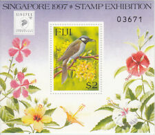 Black Faced Shrikebill on $2 Fiji miniature sheet marking Singapore 1997 NHM