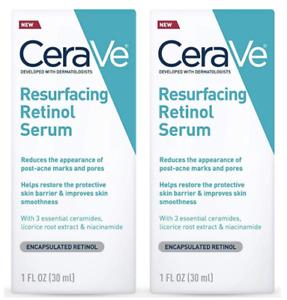Lot of 2 CeraVe Resurfacing Retinol Serum Encapsulated Retinol 1 oz. Each