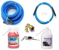 Carpet Cleaning 15ft Hoses, Super Concentrate Chemical Detail Tool Combo