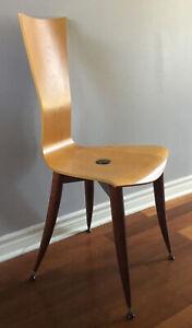 Mid Century Modern Bent Curved Wood Side Chair~Metal Legs~Possibly Oak~Vintage