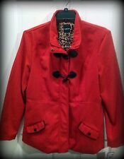 NWT Rampage Red Duffel Coat, Zipper/Toggle Closure, Leopard Lining, Women's XL