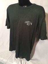 Champion Logo Embroidered Green Short Sleeve Vintage Men's T-shirt Size M Medium
