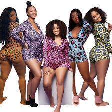 S-5XL Women Sexy Long Sleeves Single-breasted Leopard Printed Short Jumpsuit