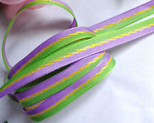 Grosgrain Ribbon trim GREEN / LAVENDER 3/8 inches wide price for 3 yards