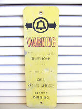VINTAGE BELL TELEPHONE Sign Warning Cable Repair Service Underground Utility