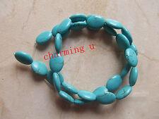 10pz  ovale perline in  turchese sintetico 10x14mm
