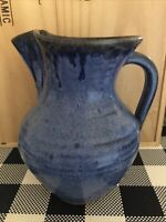 AV Smith Pottery Pitcher Medium Blue w/ Cobalt Blue Drip Down Glaze Highlights
