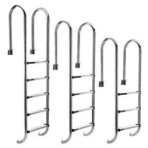 Edelstahl Poolleiter 3 4  Stufen Schwimmbad Leiter Einbauleiter Hochbeckenleiter