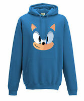 [ Kids ] Sonic The Hedgehog Blue Face Video Game Nintendo Inspired Hoodie - Blue