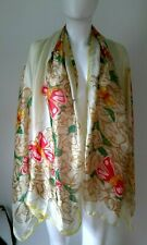 "Authentic CHANEL floral butterfly Silk Chiffon Shawl Wrap scarf stole 35"" X 68"""