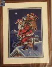 CHRISTMAS ROOFTOP SANTA Stamped Cross Stitch Embroidery Kit Dimensions NIP