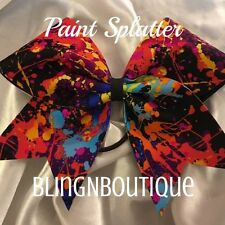 CHEER BOW - Black W/Multi Color Paint Splatters - Paint Splatter