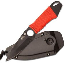 Tactical Neck knife / Boot knife, Black / red cord, hard plastic sheath w/clip.