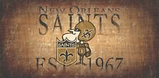 """New Orleans Saints Retro Throwback Established 1967 Wood Sign - Wall NEW 12"""" x 6"""