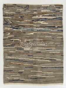 """Contemporary """"Tulu"""" Rug in Gray, Blue and Brown Colors"""