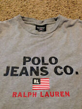 VTG 90's Polo Ralph Lauren Jeans Company Shirt USA Flag Sport Distressed Rare
