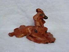 Pearlized Red Afghan Hound Dog Clay Sculpture Figurine - Lynne Watson