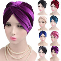 Woman Indian Style Velvet Turban Hat Bandana Chemo Head Wrap Muslim Headscarf