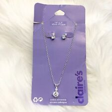 NWT Claires Necklace And Earring Set Silver Tone Hardware Cubic Zirconia Stones