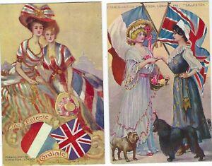 1908 Franco British Exhibition Valentine's Entente cards x 8
