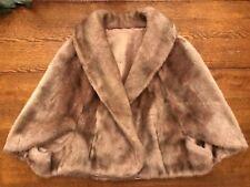 Regina Glenara By Glenoit Vintage Faux Mink Stole Short Jacket Wrap Cape Lined