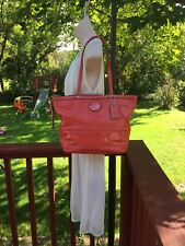 Pretty COACH Coral Orange Patent Leather Tote Handbag Satchel